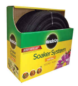 Miracle-Gro  3/8 in. Dia. x 100 ft. L Soaker  Black  Rubber  Hose