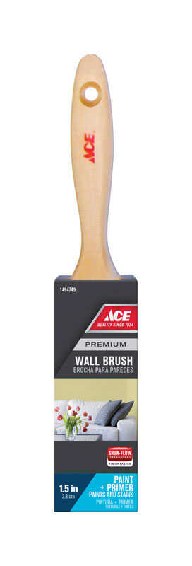 Ace  Premium  1-1/2 in. W Medium Stiff  Flat  Polyester  Paint Brush
