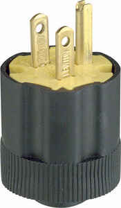 Leviton  Commercial and Residential  Rubber  Grounding  Plug  5-15P  18-14 AWG 2 Pole 3 Wire