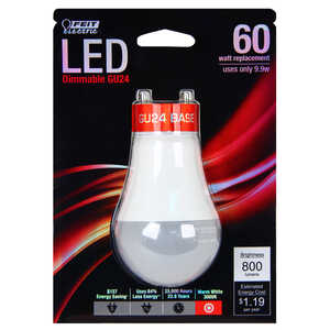FEIT Electric  9.9 watts A19  LED Bulb  800 lumens A-Line  Warm White  60 Watt Equivalence
