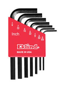 Eklind Tool  5/64 to 1/4  SAE  Short Arm  7 pc. Hex L-Key Set  Multi-Size in.