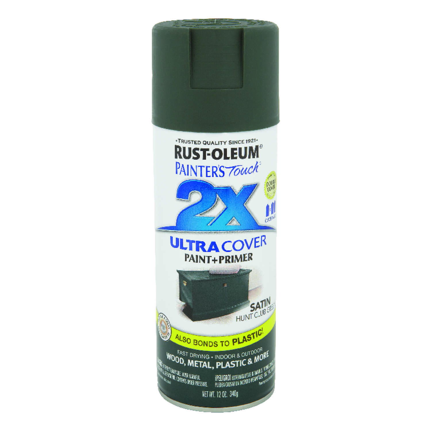 Rust-Oleum  Painter's Touch Ultra Cover  Satin  Spray Paint  12 oz. Hunt Club Green