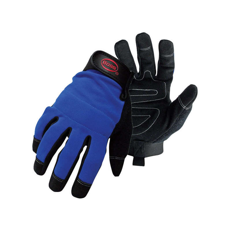 Boss Men's Indoor/Outdoor Mechanic Gloves Black/Blue L 1 pair