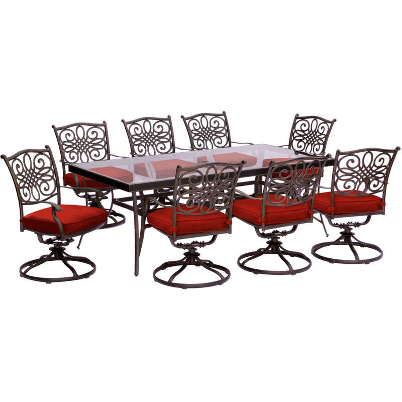 Hanover  Traditions  9 pc. Bronze  Aluminum  Traditions  Patio Set  Red