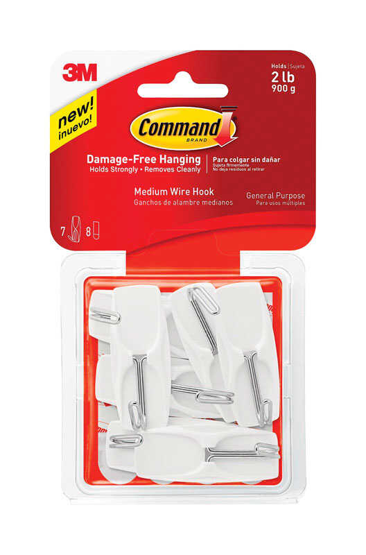 3M  Command  Medium  Plastic  Hook  2-1/6 in. L 7 pk