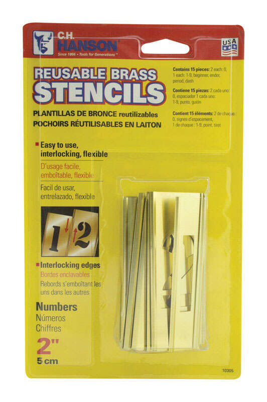 C.H. Hanson  2 in. Brass Plated  0-9  Number Set  Nail-On  Brass