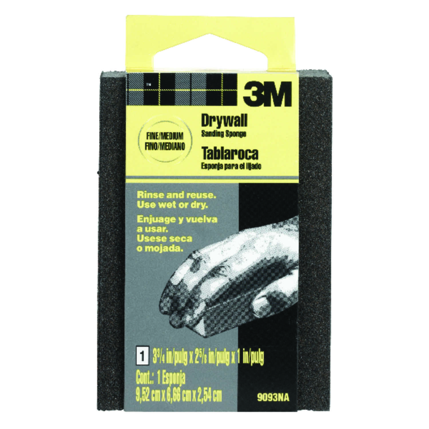 3M  3-3/4 in. L x 3-3/4 in. W x 1 in.  Assorted  Sanding Sponge