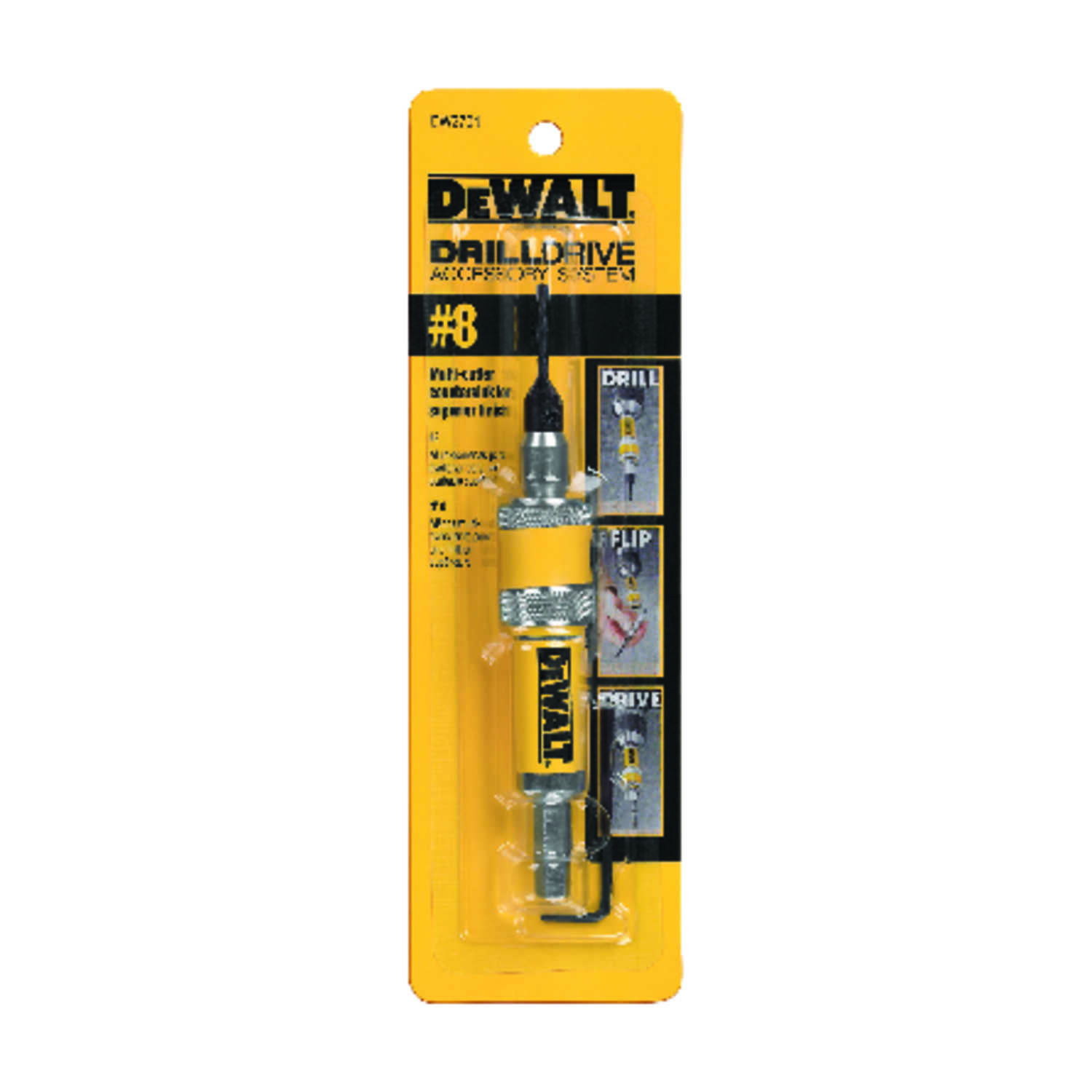 DeWalt  No. 8 in. Dia. x 8.8  L Black Oxide  Extension Drill Bit  1/4 in. Hex Shank  1 pc.
