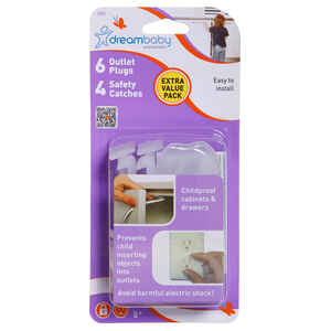 Dreambaby  Clear  Plastic  Safety Catches and Outlet Covers Kit  10 pk