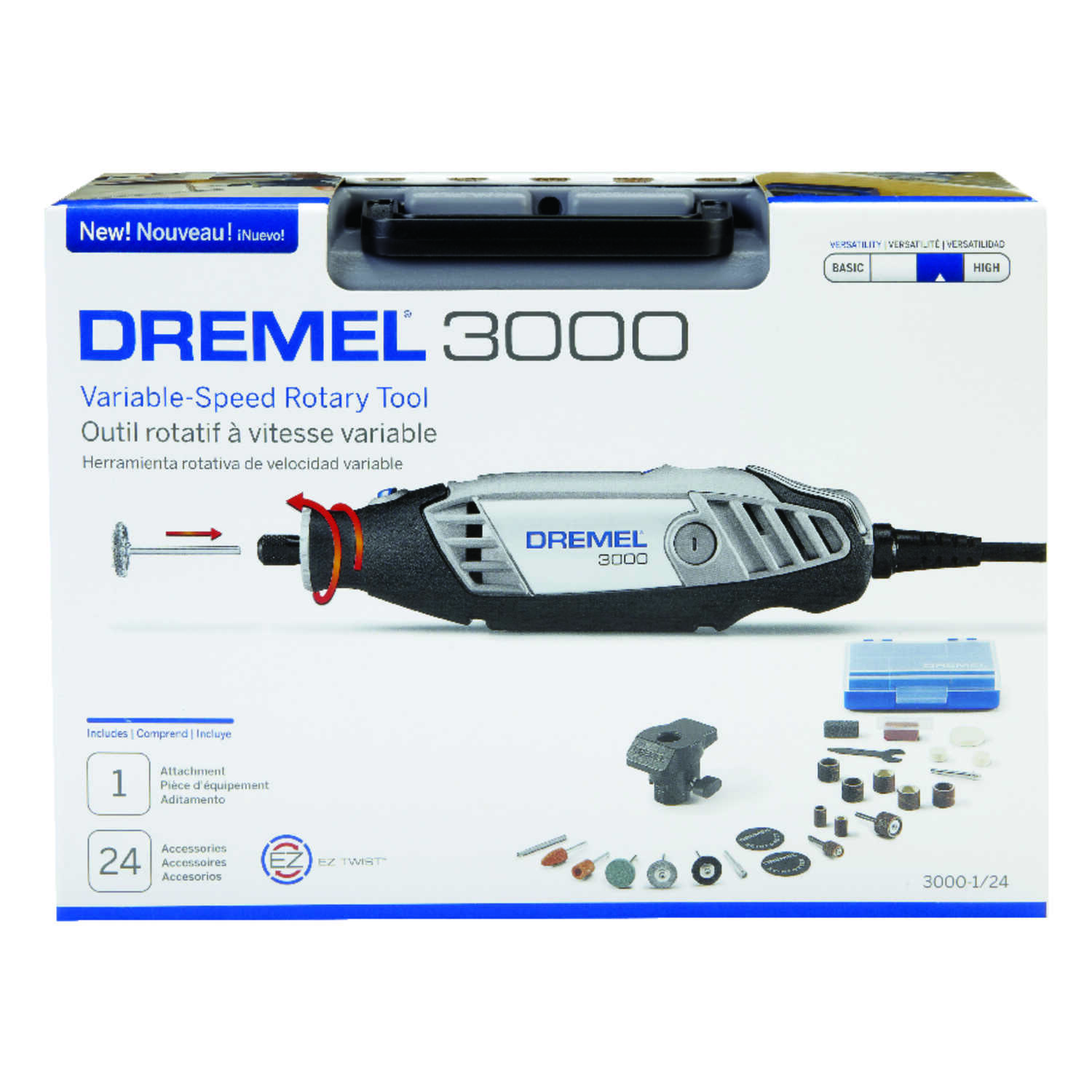 Dremel  3000  1/8 in. Corded  Rotary Tool  Kit 1.2 amps 120 volt 35000 rpm 24 pc.