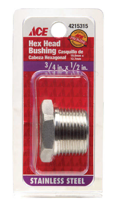 Smith-Cooper 3/4 in. Dia. x 1/2 in. Dia. MPT To FPT Stainless Steel Hex Bushing(S3014HB006004CS)
