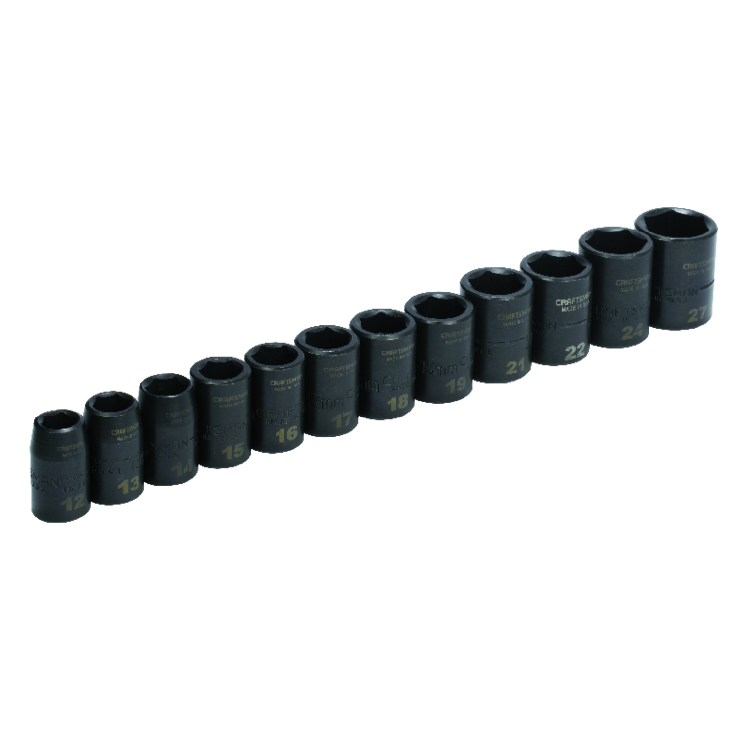 Craftsman  27 mm  x 1/2 in. drive  Metric  6 Point Impact Socket Set  12 pc.