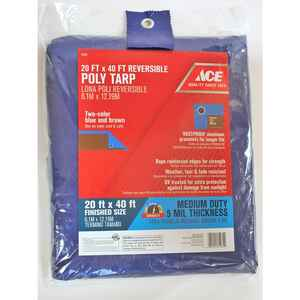 Ace  20 ft. W x 40 ft. L Medium Duty  Polyethylene  Tarp  Blue/Brown