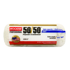 Wooster  50/50  Lambswool Polyester  1-1/4 in.  x 9 in. W Paint Roller Cover  For Extra Rough Surfac