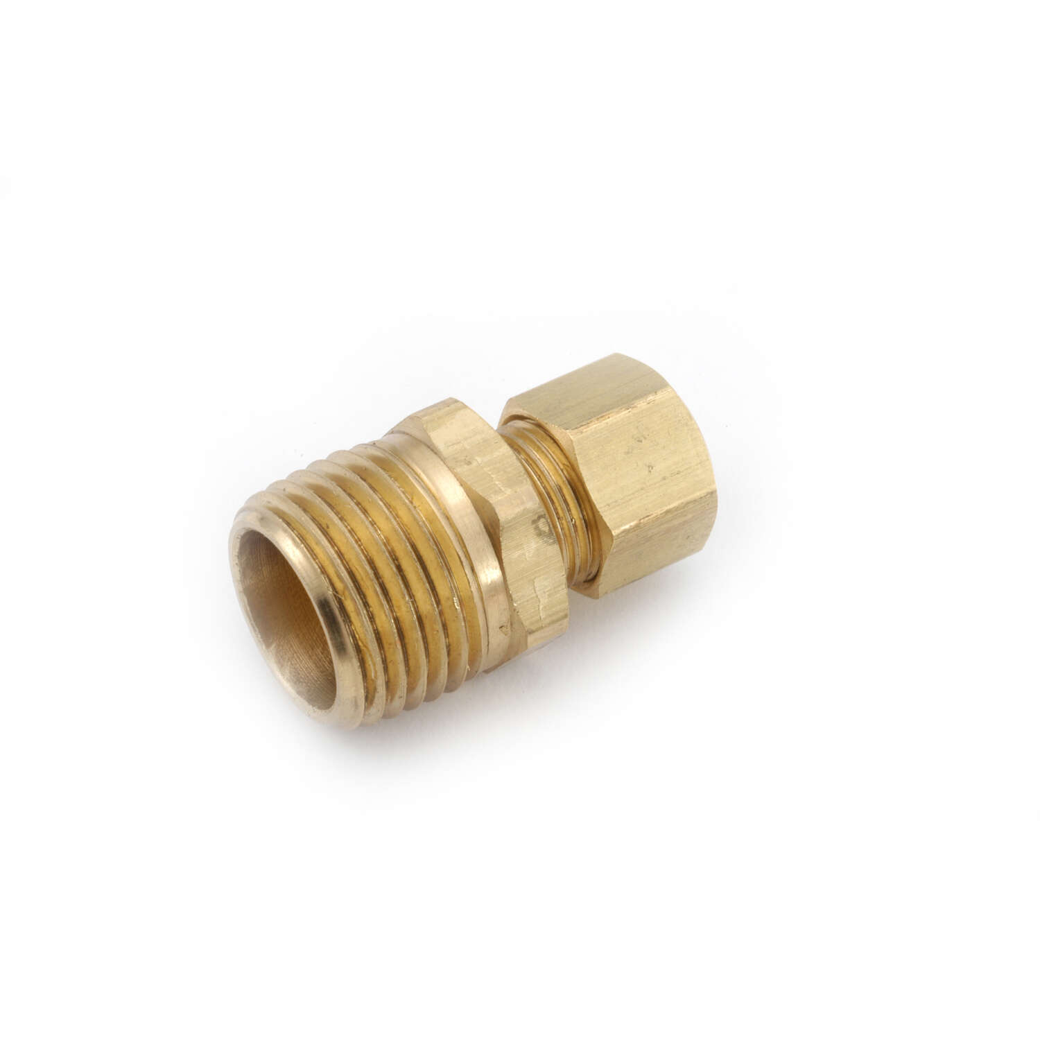 Anderson Metals Corporations  3/8 in. Compression   x 1/4 in. Dia. MIP  Brass  Connector