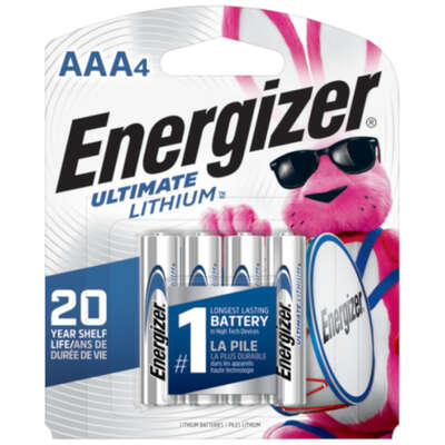 Energizer  Ultimate  Lithium  AAA  1.5 volt Replacement Battery  L92BP-4  4 pk