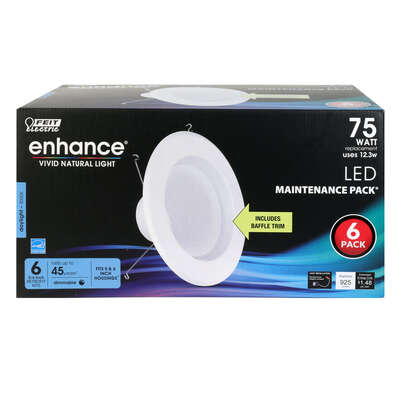 FEIT Electric Enhance White 5-6 in. W LED Dimmable Recessed Downlight 12.3 watt