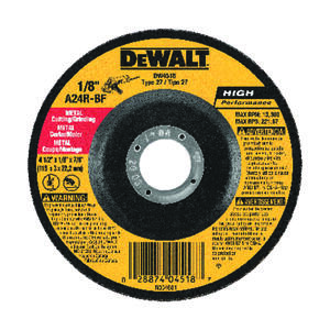 DeWalt  High Performance  4-1/2 in. Dia. x 7/8 in. in.  Aluminum Oxide  Cutting/Grinding Wheel  1 pc