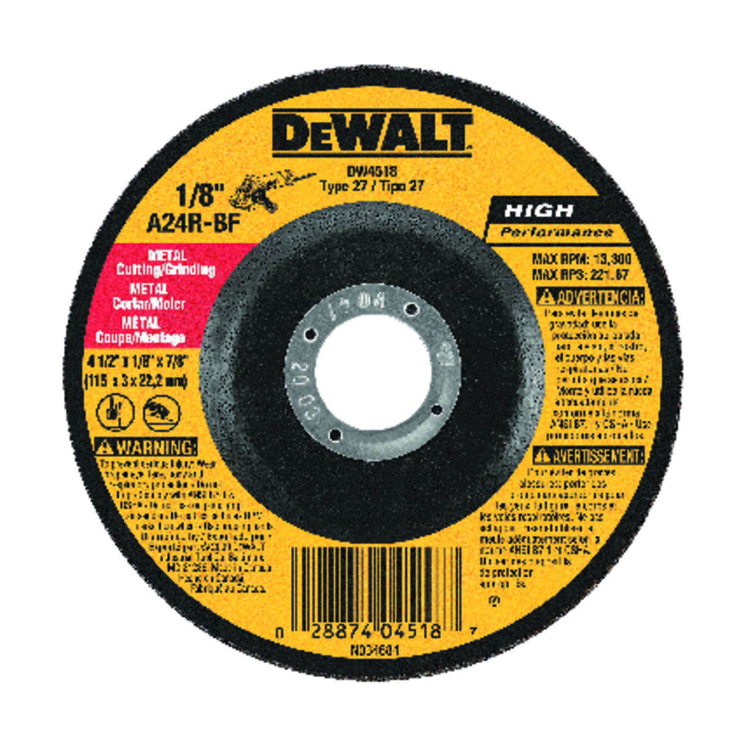 DeWalt  High Performance  4-1/2 in. 7/8 in. in.  Aluminum Oxide  Cutting/Grinding Wheel  1 pc.