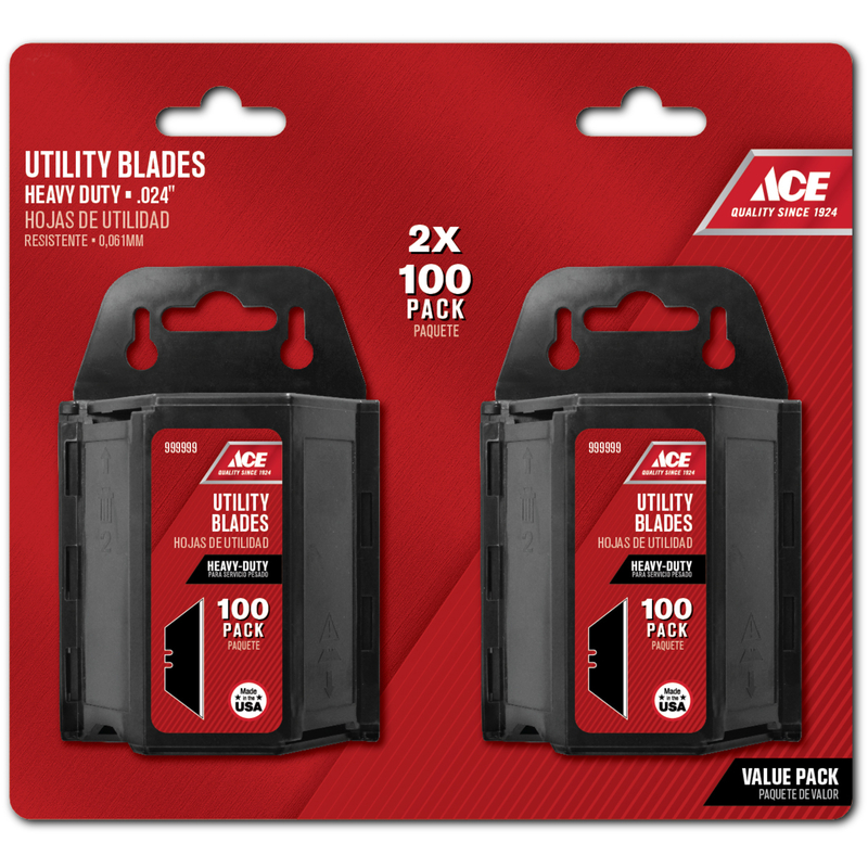 Ace  0.024 in.  Heavy Duty  Replacement Blade  200 pk Carbon Steel