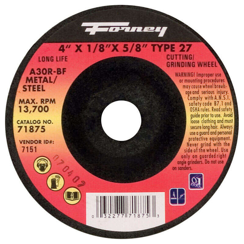 Forney 4 in. Dia. x 1/8 in. thick x 5/8 in. Metal Grinding Wheel 1 pc.