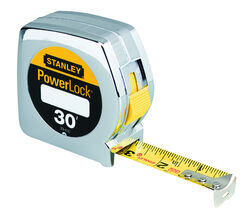 Stanley  PowerLock  30 ft. L x 1 in. W Tape Measure  Silver  1 pk