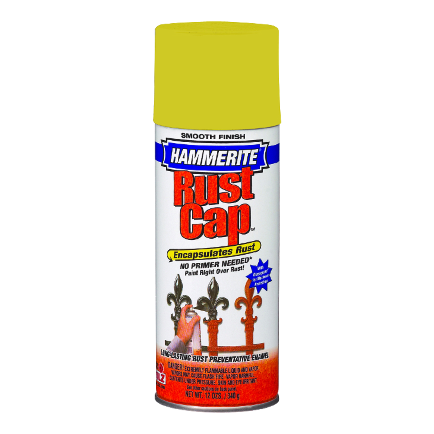 Hammerite  Rust Cap  Bright Yellow  Smooth Enamel Finish Spray  12 oz.
