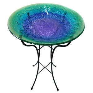 Infinity  Glass  Purple and Green  25.5 in. Bird Bath