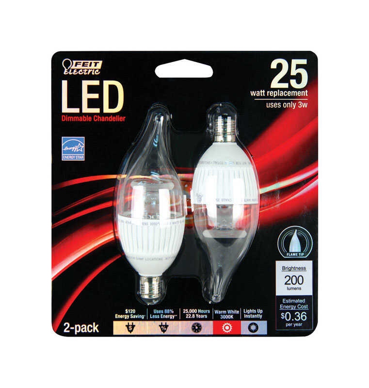 FEIT Electric  3.5 watts C10  LED Bulb  200 lumens Soft White  Chandelier  25 Watt Equivalence