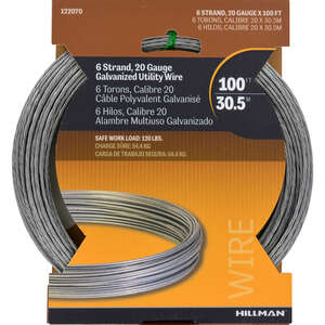 HILLMAN  0.096 - 0.099 in. Dia. x 100 ft. L Steel  20 Ga. Wire  Galvanized