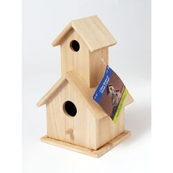 Plaid 9 in. H x 4.75 in. W x 5.25 in. L Natural Beige Wood Two Story Birdhouse