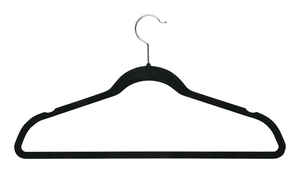 Honey Can Do  9-1/2 in. H x 9/32 in. W x 17-3/4 in. L Metal/Velvet  Black  Suit Hanger  3 pk