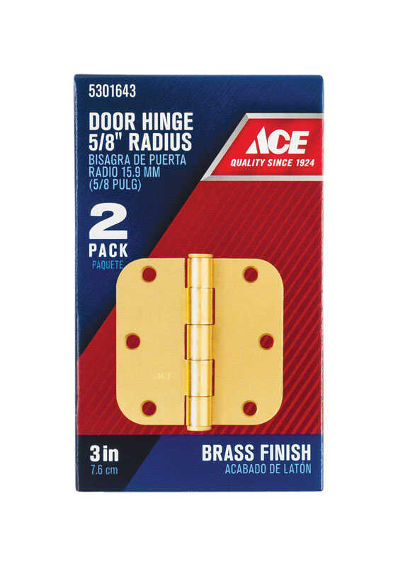 Ace  3 in. L Brass  Residential Door Hinge  2 pk