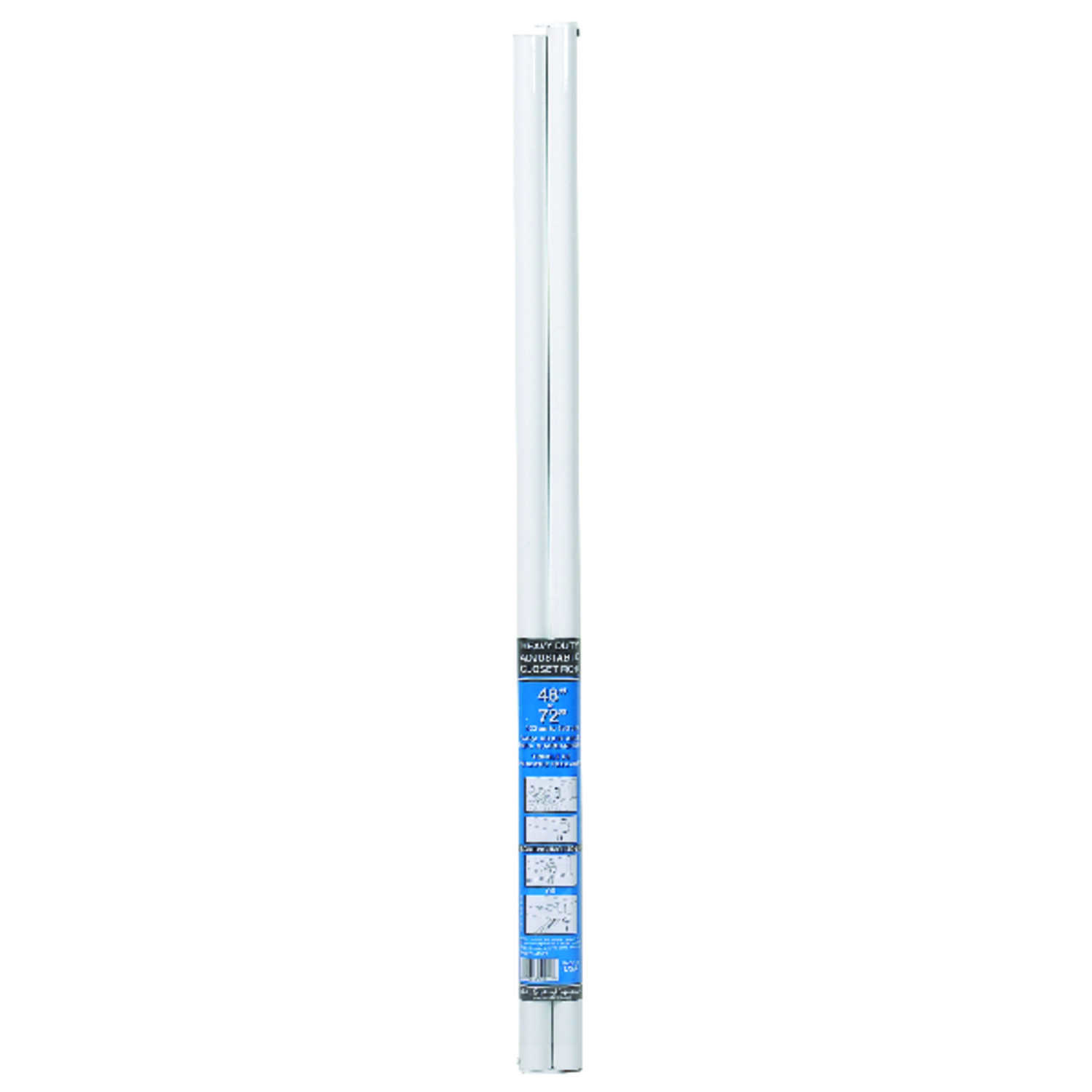 John Sterling  Pro  72 in. L x 1-1/4 in. Dia. Adjustable White  Steel  Closet Rod