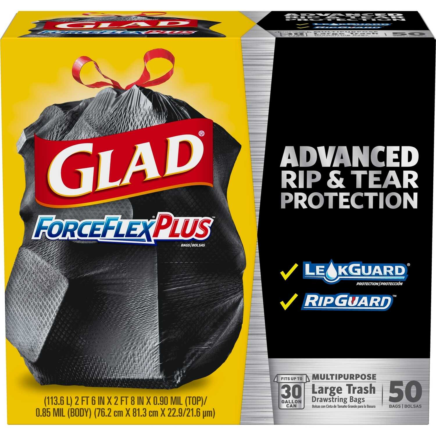 Glad  ForceFlex  30 gal. Trash Bags  Drawstring  50 pk