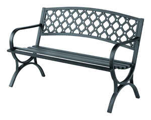 Living Accents  Ornate  Park Bench  Steel  33.5 in. H x 50.4 in. L x 23.4 in. D