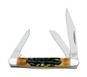 Bear  Genuine India Stag Bone Stockman  Brown  440 Stainless Steel  4-7/8 in. Pocket Knife