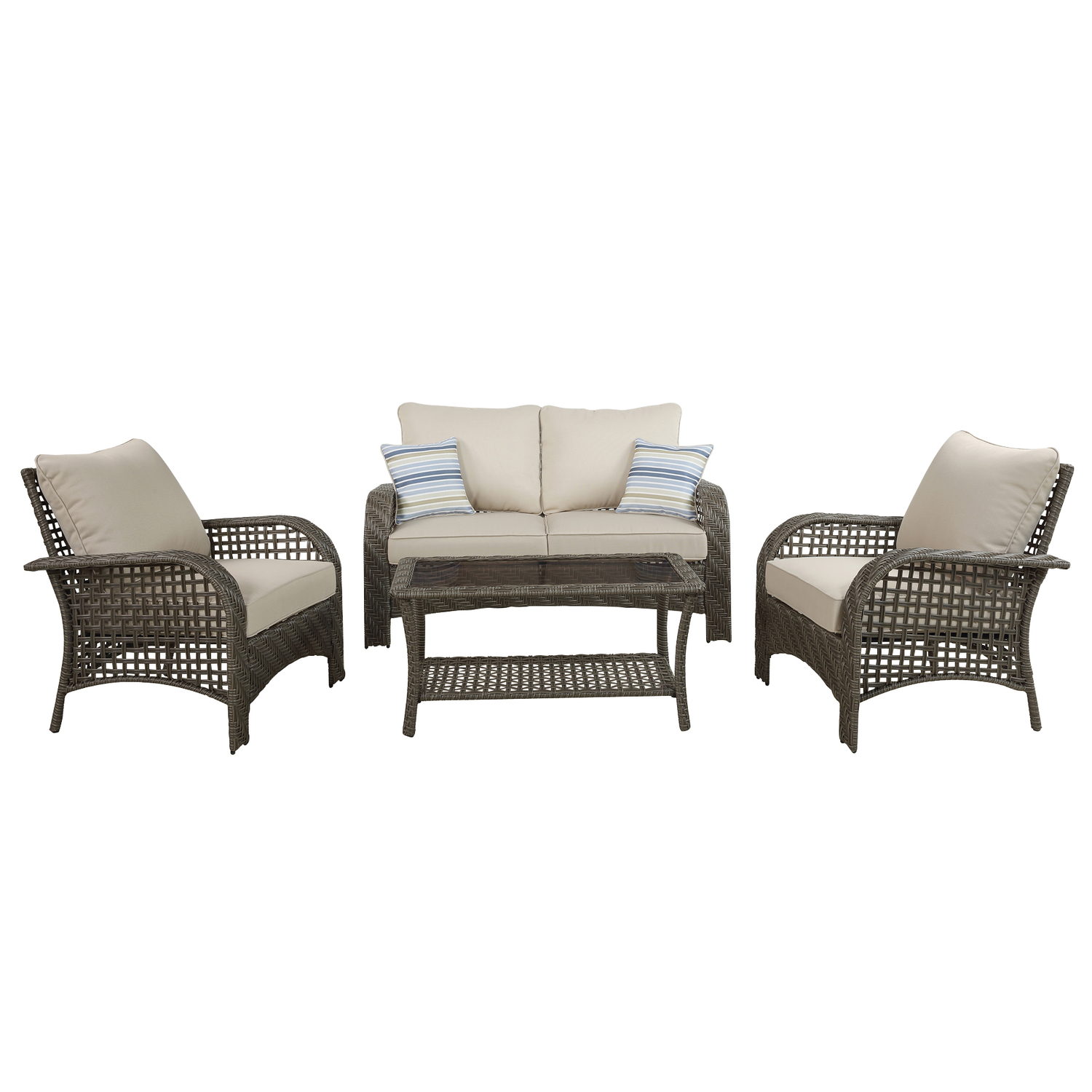 Living Accents Willow 4 pc. Gray Wicker Deep Seating Patio Set Beige