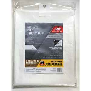 Ace  10 ft. W x 20 ft. L Heavy Duty  Polyethylene  Canopy Tarp  White