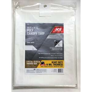 Ace  10 ft. W x 20 ft. L Heavy Duty  Polyethylene  White  Canopy Tarp
