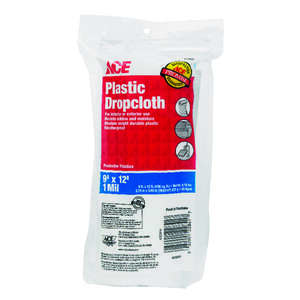 ACE  Medium Weight  Plastic  Drop Cloth  9 ft. W x 12 ft. L