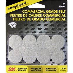 Shepherd  Brown  1 in. Adhesive  Felt  Commercial Grade Felt Pads  16 pk