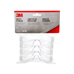 3M  Impact-Resistant Safety Glasses  Clear Lens Clear Frame 4 pk