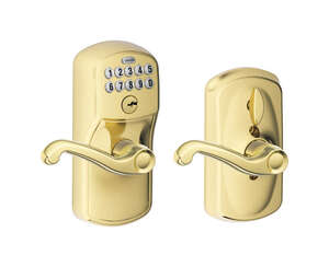 Schlage  Bright Brass  Steel  Electronic Keypad Entry Lock