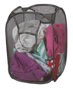 Bajer Laundry Hamper 13 in. x 13 in. x 21 in. Nylon Gray Carded