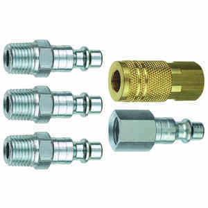 Tru-Flate  Brass/Steel  Air Coupler and Plug Set  1/4 in. Female  5 pc.