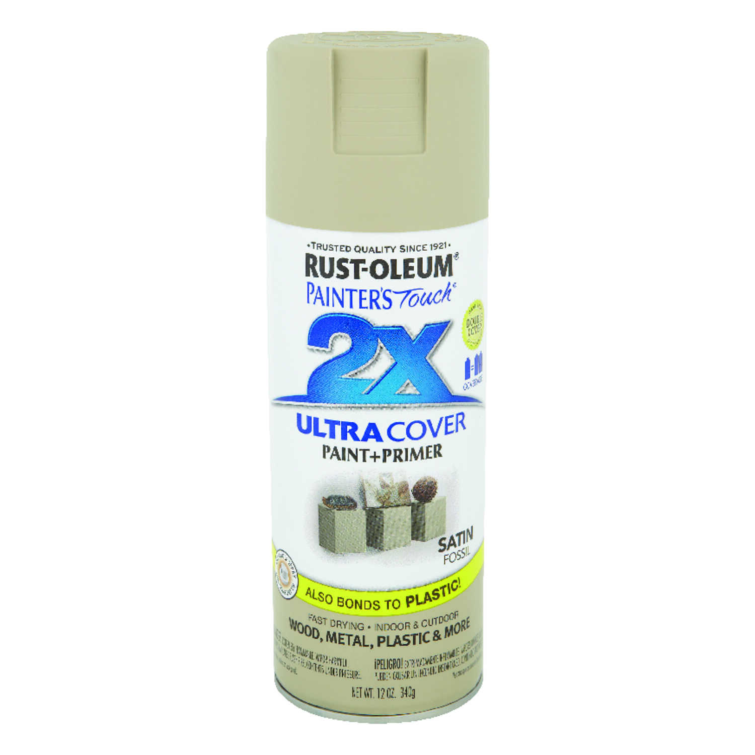 Rust-Oleum  Painter's Touch Ultra Cover  Satin  Fossil  12 oz. Spray Paint
