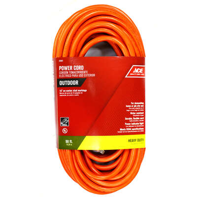 Ace  Indoor or Outdoor  50 ft. L Orange  Extension Cord  12/3 SJTW