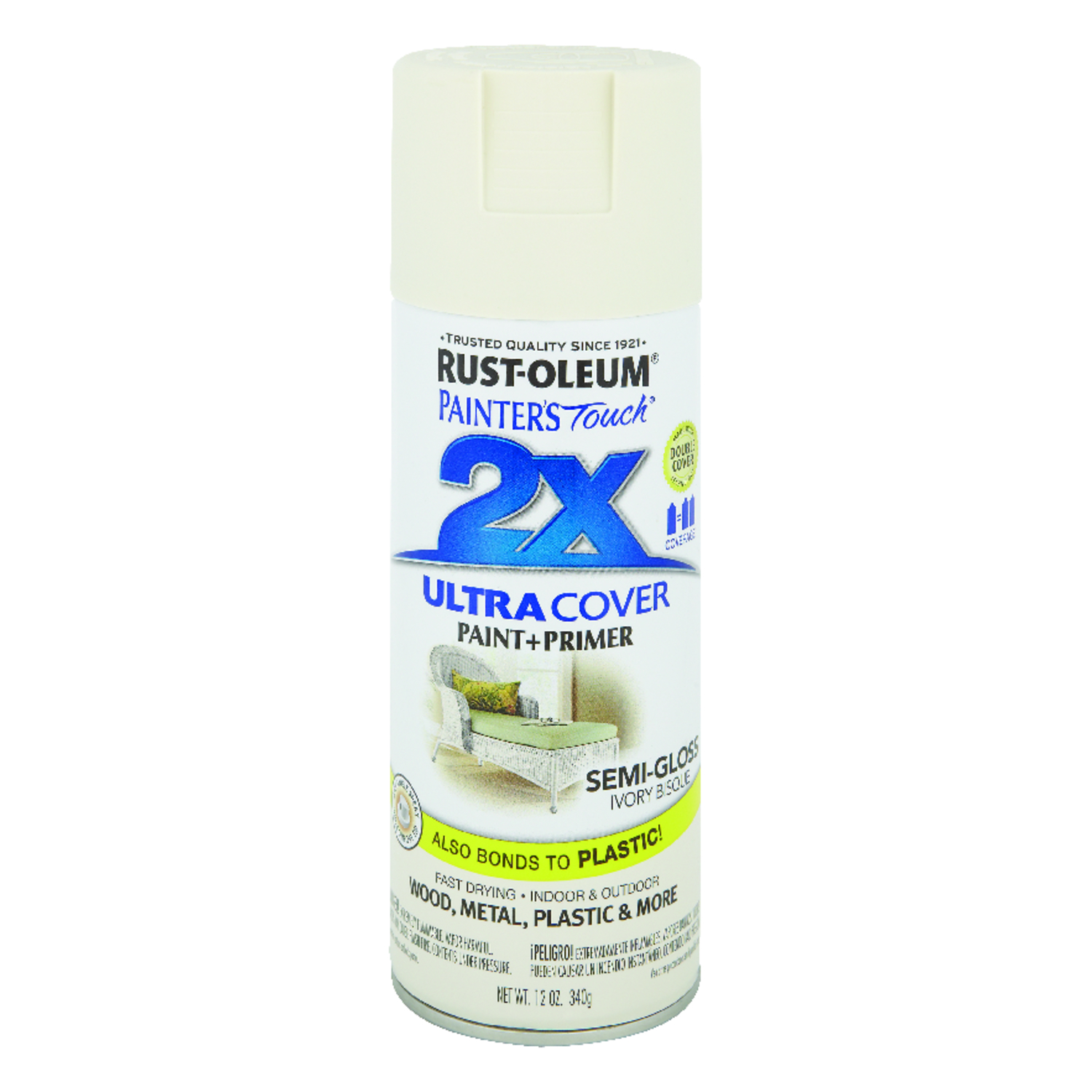 Rust-Oleum  Painter's Touch Ultra Cover  Semi-Gloss  Ivory Bisque  Spray Paint  12 oz.