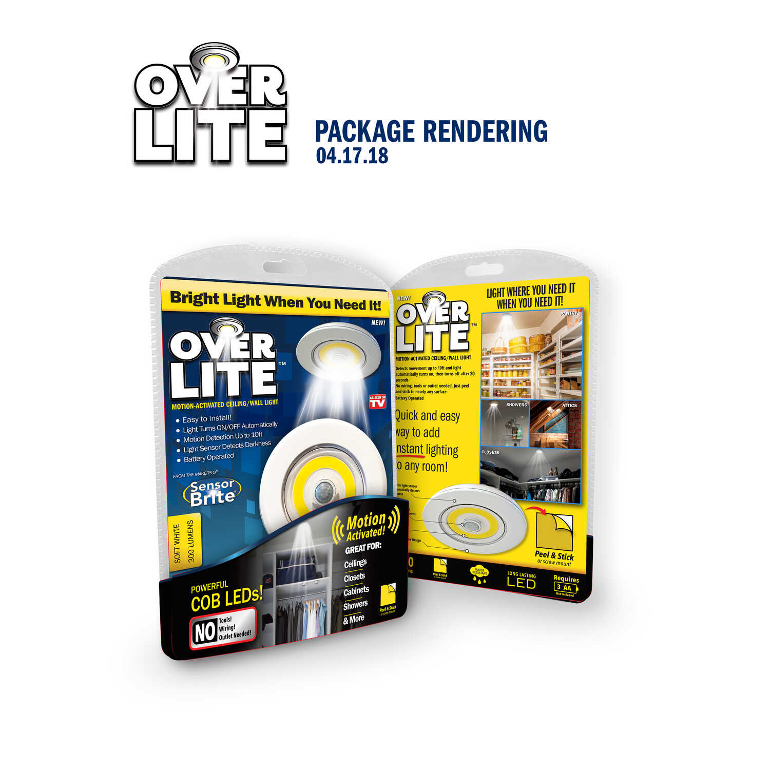 Over Lite  As Seen On TV  White  4 in. W x 1 in. L x 4 in. H Battery Powered  White  1 pk Puck Light